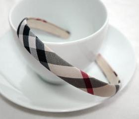 Smoked Checked Headband, 1.5cm